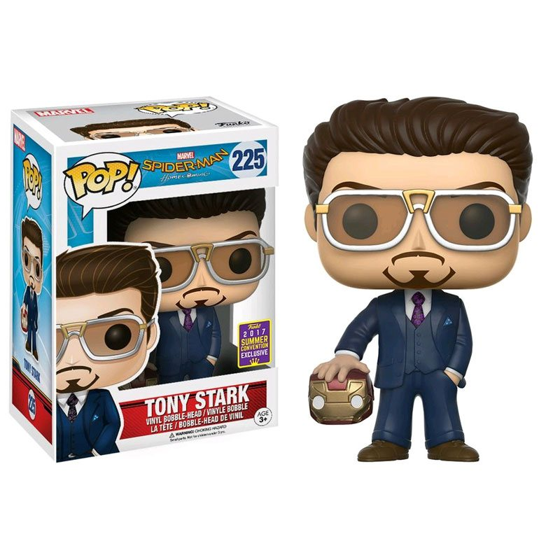 SDCC 2017 Exclusive Spider-Man Homecoming Funko POP! Vinyl - Tony Stark holding Iron Man helmet