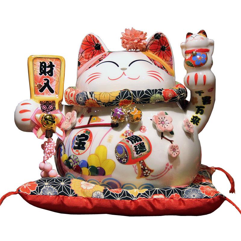 "Japanese Maneki Neko Figurine Wealth Lucky Cat Figurine 2/"" tall"